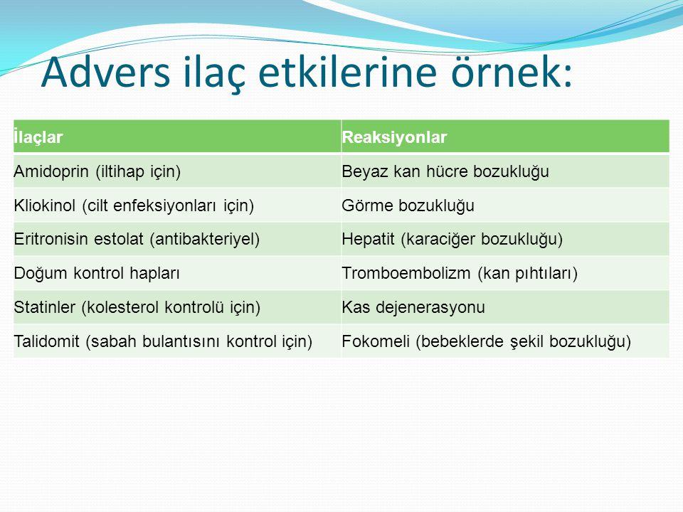 Advers ilaç etkilerine örnek: