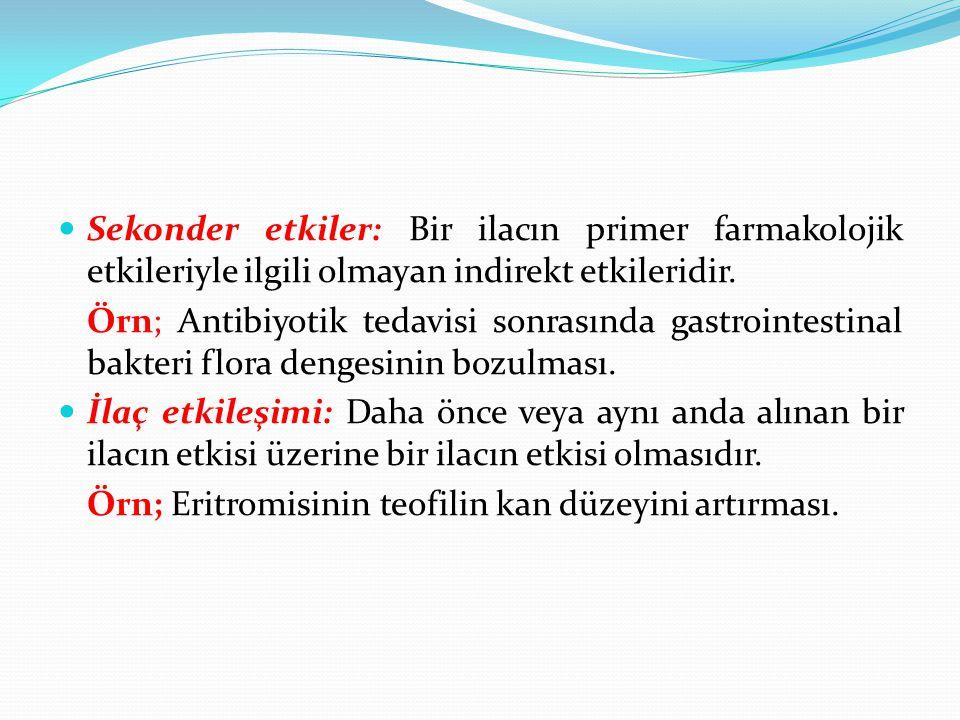 Sekonder etkiler: Bir ilacın primer farmakolojik etkileriyle ilgili olmayan indirekt etkileridir.