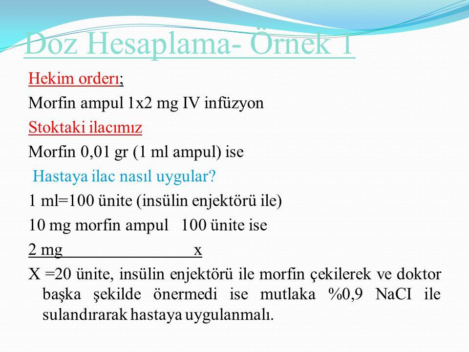 Doz Hesaplama- Örnek 1 Hekim orderı; Morfin ampul 1x2 mg IV infüzyon