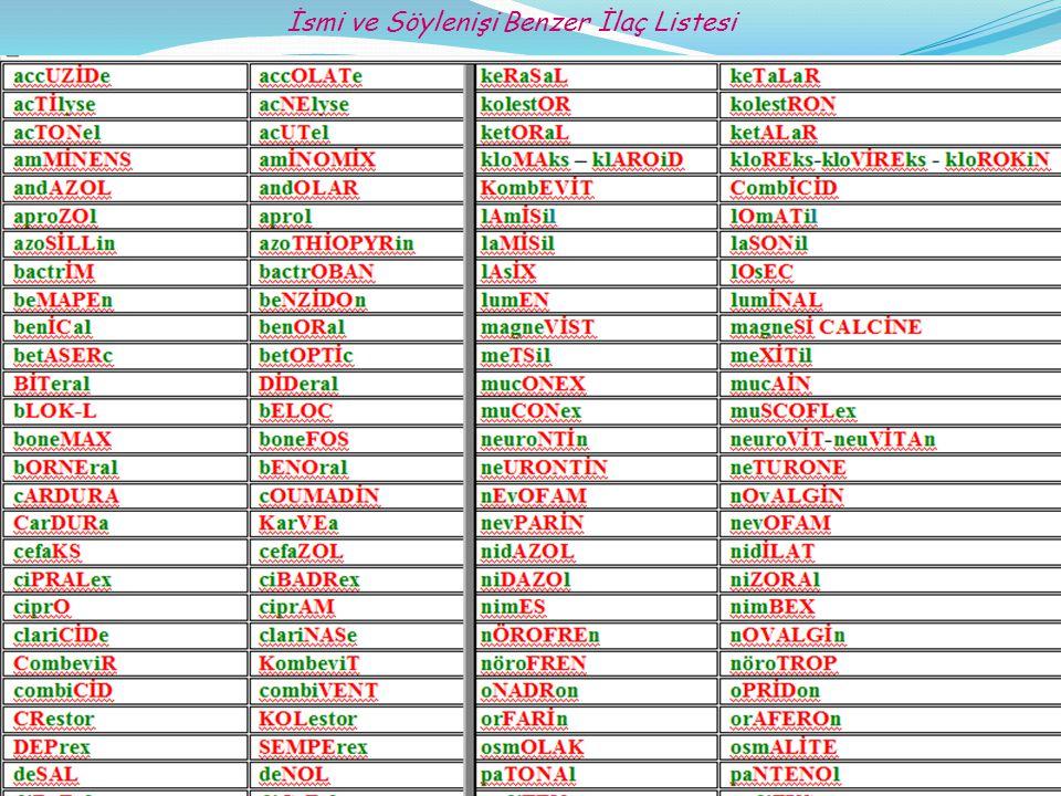 İsmi ve Söylenişi Benzer İlaç Listesi