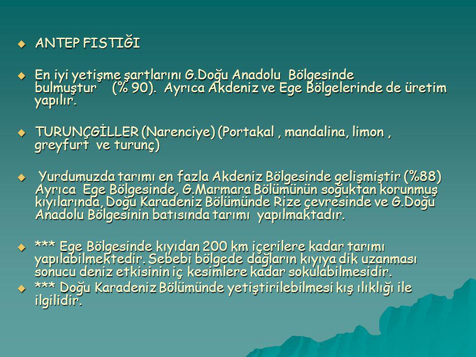 ANTEP FISTIĞI En iyi yetişme şartlarını G.Doğu Anadolu Bölgesinde bulmuştur (% 90). Ayrıca Akdeniz ve Ege Bölgelerinde de üretim yapılır.