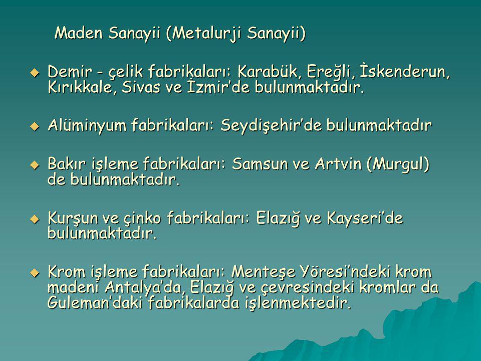 Alüminyum fabrikaları: Seydişehir'de bulunmaktadır