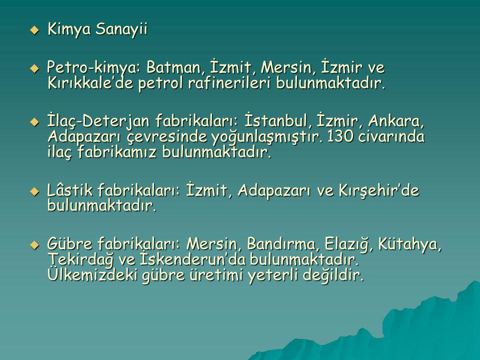 Kimya Sanayii Petro-kimya: Batman, İzmit, Mersin, İzmir ve Kırıkkale'de petrol rafinerileri bulunmaktadır.