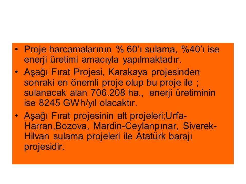 Proje harcamalarının % 60'ı sulama, %40'ı ise enerji üretimi amacıyla yapılmaktadır.
