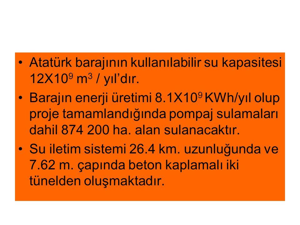Atatürk barajının kullanılabilir su kapasitesi 12X109 m3 / yıl'dır.