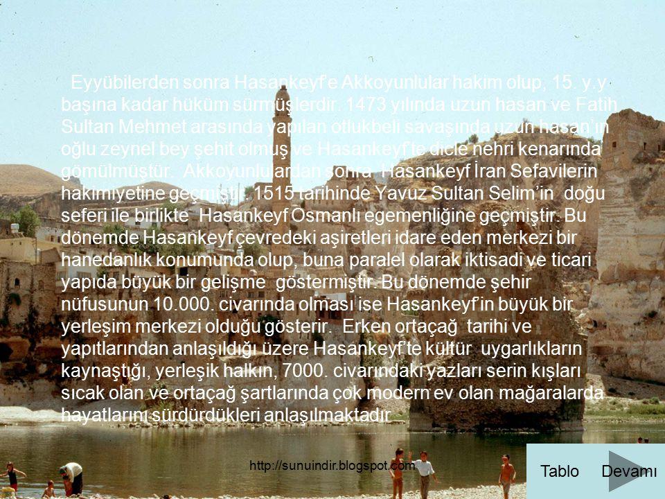 Eyyübilerden sonra Hasankeyf'e Akkoyunlular hakim olup, 15. y.y