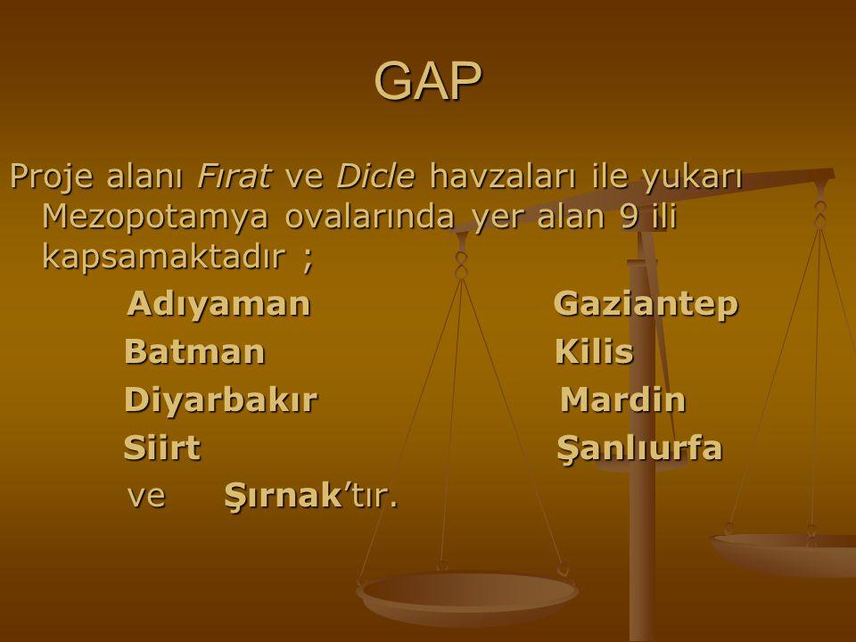 GAP Proje alanı Fırat ve Dicle havzaları ile yukarı Mezopotamya ovalarında yer alan 9 ili kapsamaktadır ;