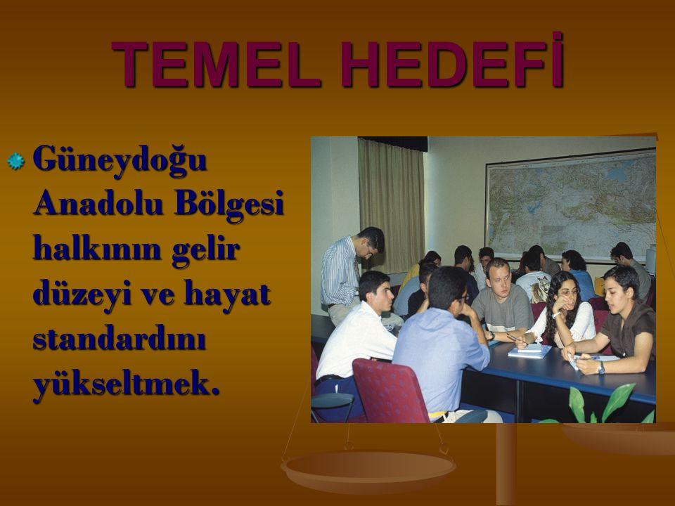 TEMEL HEDEFİ Güneydoğu Anadolu Bölgesi halkının gelir düzeyi ve hayat standardını yükseltmek. 4
