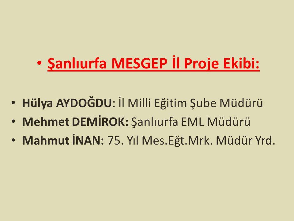 Şanlıurfa MESGEP İl Proje Ekibi: