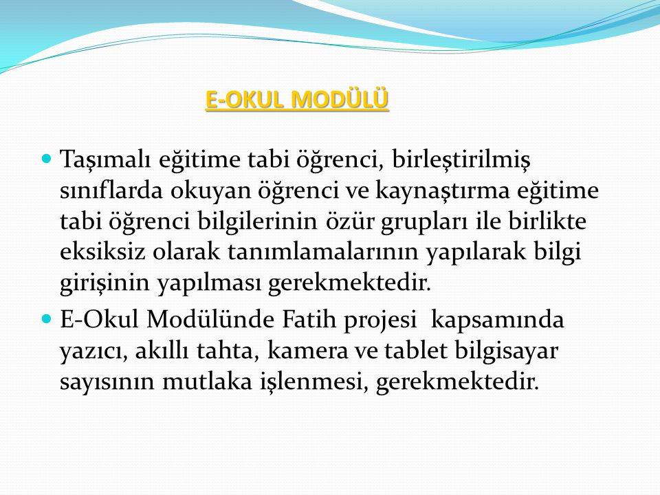 E-OKUL MODÜLÜ