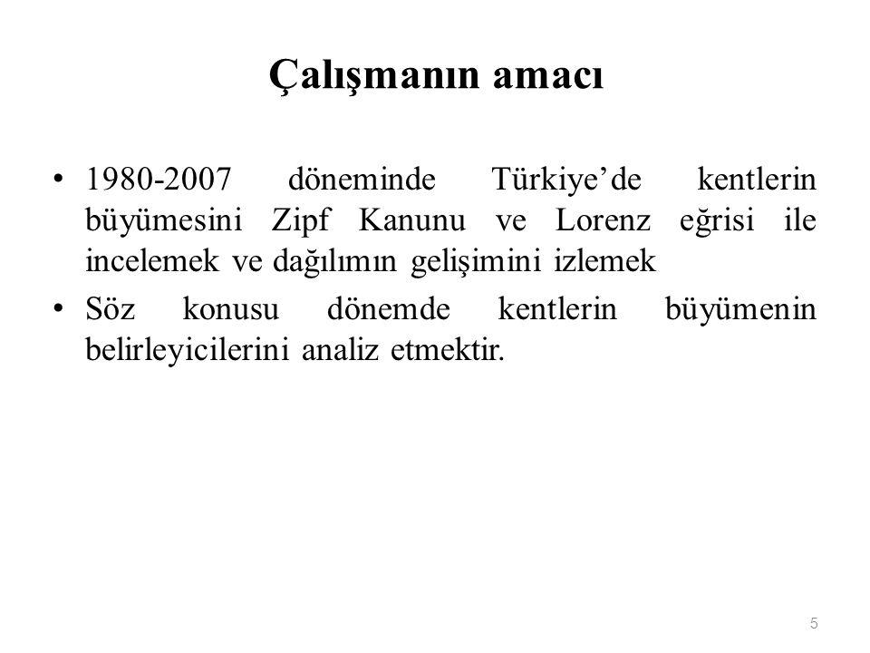 Çalışmanın amacı 1980-2007 döneminde Türkiye'de kentlerin büyümesini Zipf Kanunu ve Lorenz eğrisi ile incelemek ve dağılımın gelişimini izlemek.