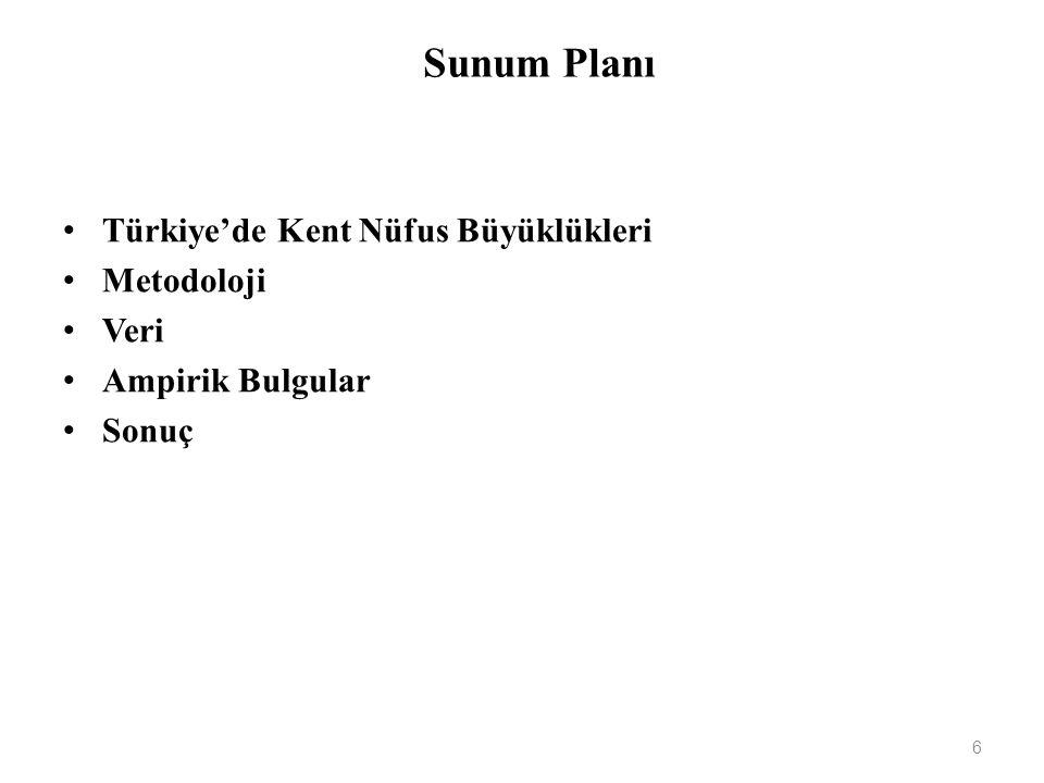 Sunum Planı Türkiye'de Kent Nüfus Büyüklükleri Metodoloji Veri