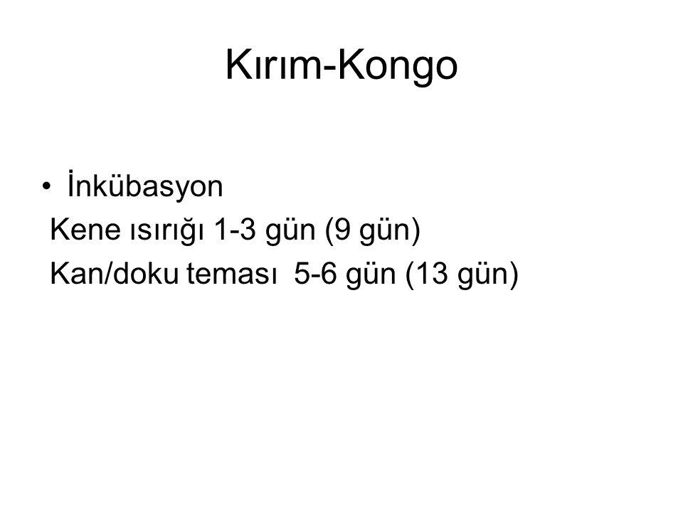 Kırım-Kongo İnkübasyon Kene ısırığı 1-3 gün (9 gün)