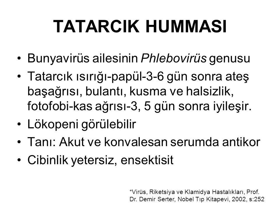TATARCIK HUMMASI Bunyavirüs ailesinin Phlebovirüs genusu
