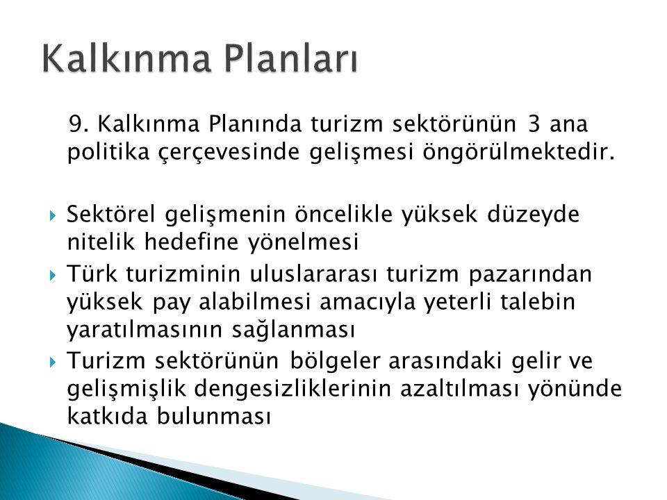 Kalkınma Planları 9. Kalkınma Planında turizm sektörünün 3 ana politika çerçevesinde gelişmesi öngörülmektedir.