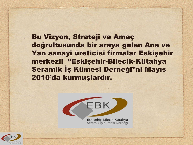 Bu Vizyon, Strateji ve Amaç doğrultusunda bir araya gelen Ana ve Yan sanayi üreticisi firmalar Eskişehir merkezli Eskişehir-Bilecik-Kütahya Seramik İş Kümesi Derneği ni Mayıs 2010'da kurmuşlardır.