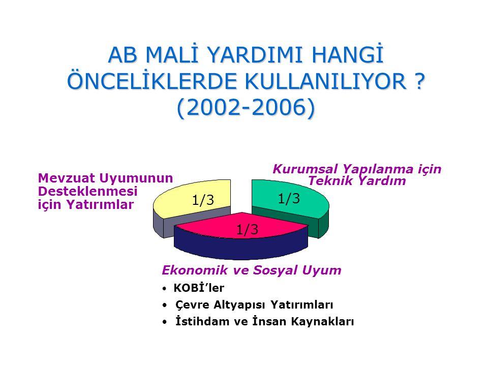 AB MALİ YARDIMI HANGİ ÖNCELİKLERDE KULLANILIYOR (2002-2006)