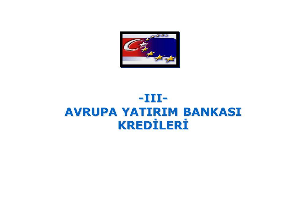 -III- AVRUPA YATIRIM BANKASI KREDİLERİ