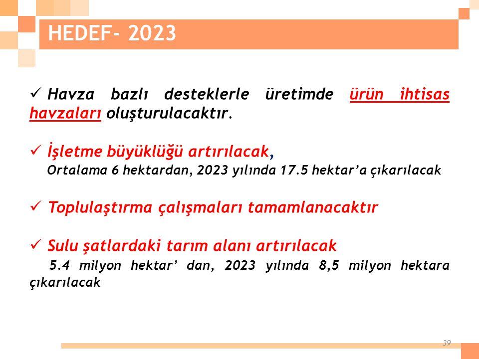 HEDEF- 2023 Havza bazlı desteklerle üretimde ürün ihtisas havzaları oluşturulacaktır. İşletme büyüklüğü artırılacak,