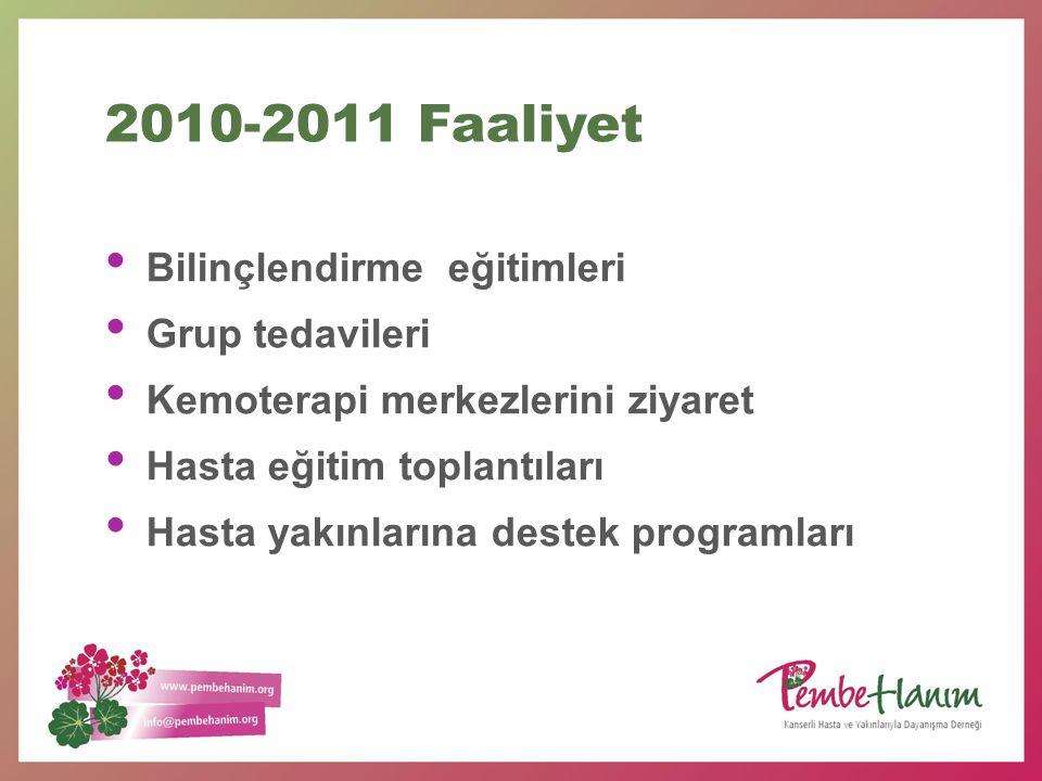 2010-2011 Faaliyet Bilinçlendirme eğitimleri Grup tedavileri
