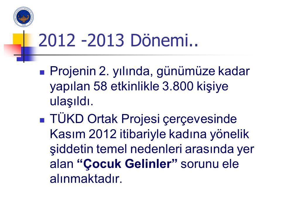 2012 -2013 Dönemi.. Projenin 2. yılında, günümüze kadar yapılan 58 etkinlikle 3.800 kişiye ulaşıldı.