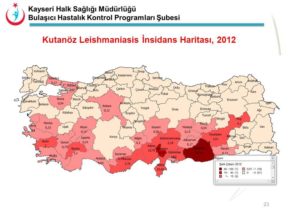 Kutanöz Leishmaniasis İnsidans Haritası, 2012