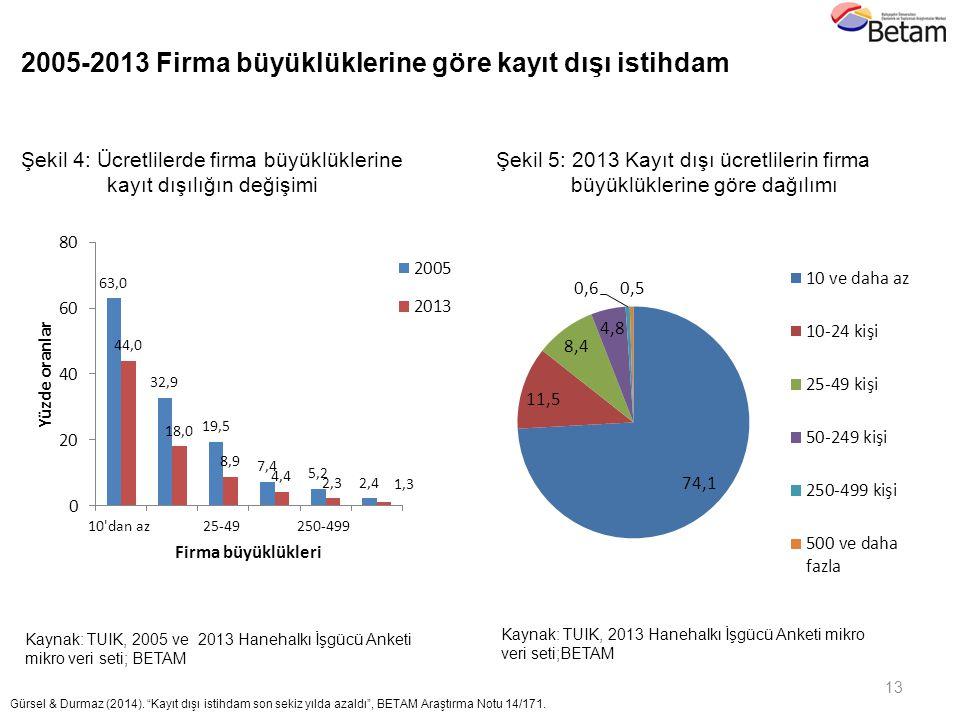 2005-2013 Firma büyüklüklerine göre kayıt dışı istihdam