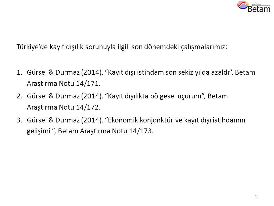 Türkiye'de kayıt dışılık sorunuyla ilgili son dönemdeki çalışmalarımız: