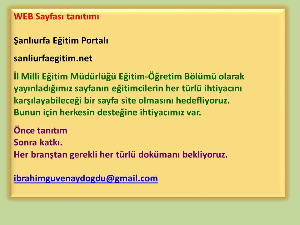 WEB Sayfası tanıtımı Şanlıurfa Eğitim Portalı. sanliurfaegitim.net.