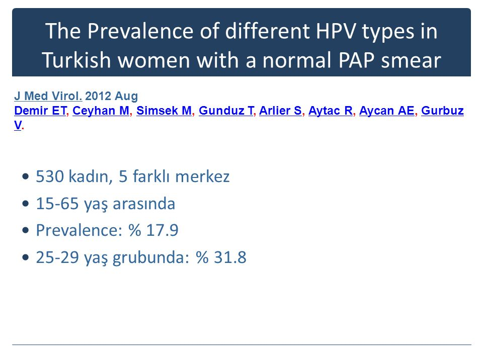 The Prevalence of different HPV types in Turkish women with a normal PAP smear