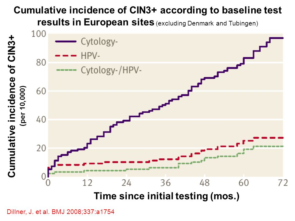 Cumulative incidence of CIN3+ Time since initial testing (mos.)