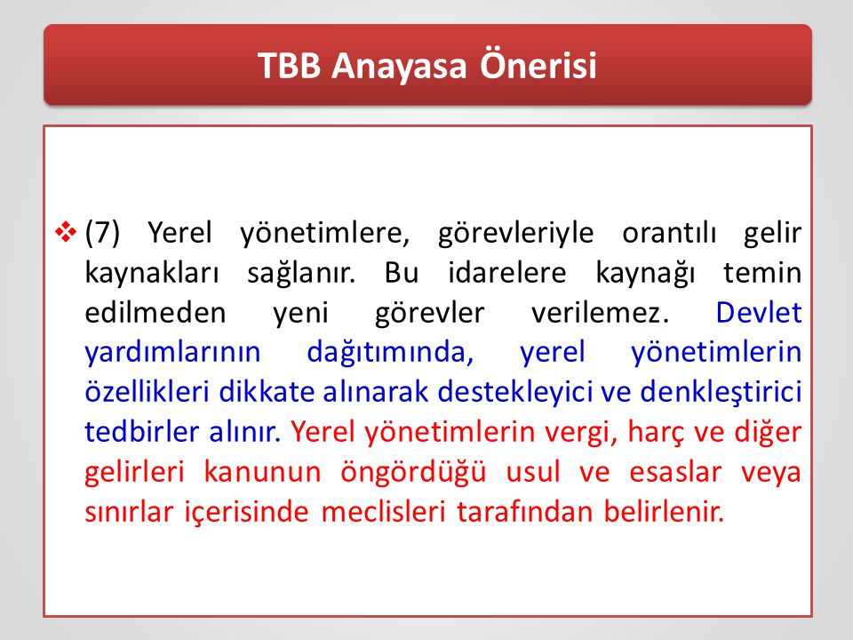 TBB Anayasa Önerisi