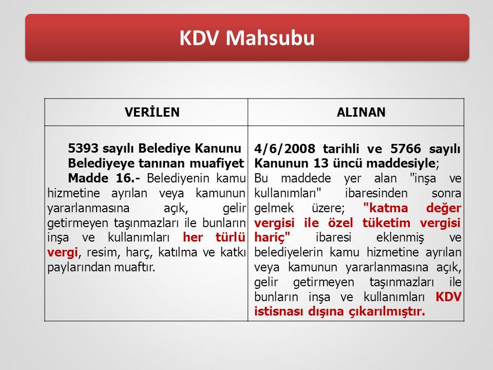 KDV Mahsubu VERİLEN ALINAN 5393 sayılı Belediye Kanunu