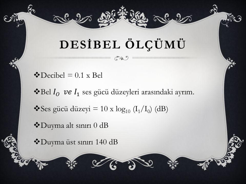 DESİBEL ÖLÇÜMÜ Decibel = 0.1 x Bel