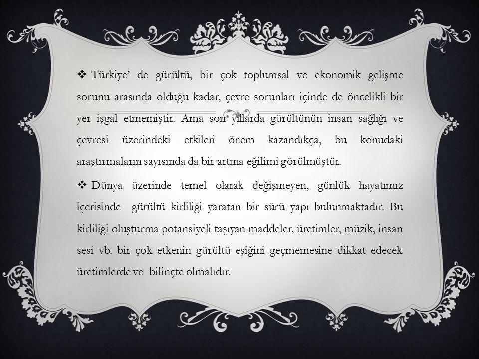 Türkiye' de gürültü, bir çok toplumsal ve ekonomik gelişme sorunu arasında olduğu kadar, çevre sorunları içinde de öncelikli bir yer işgal etmemiştir. Ama son yıllarda gürültünün insan sağlığı ve çevresi üzerindeki etkileri önem kazandıkça, bu konudaki araştırmaların sayısında da bir artma eğilimi görülmüştür.