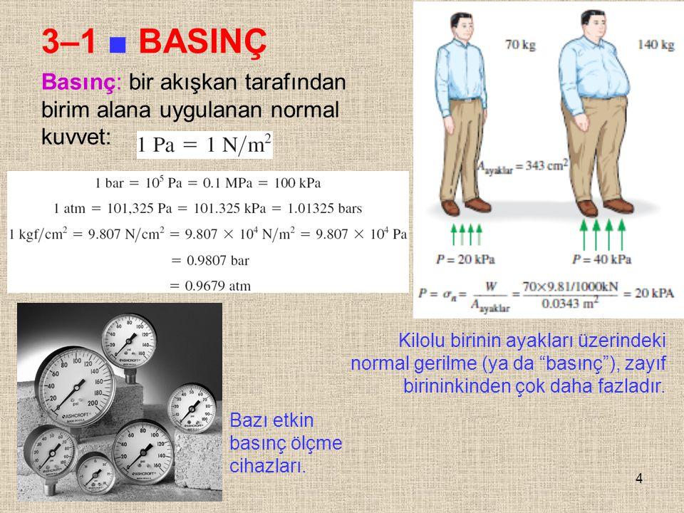 3–1 ■ BASINÇ Basınç: bir akışkan tarafından birim alana uygulanan normal kuvvet: Kilolu birinin ayakları üzerindeki.