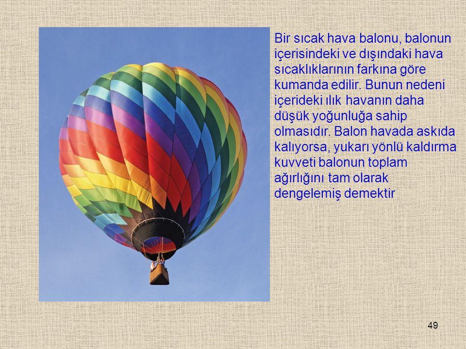 Bir sıcak hava balonu, balonun içerisindeki ve dışındaki hava sıcaklıklarının farkına göre kumanda edilir.