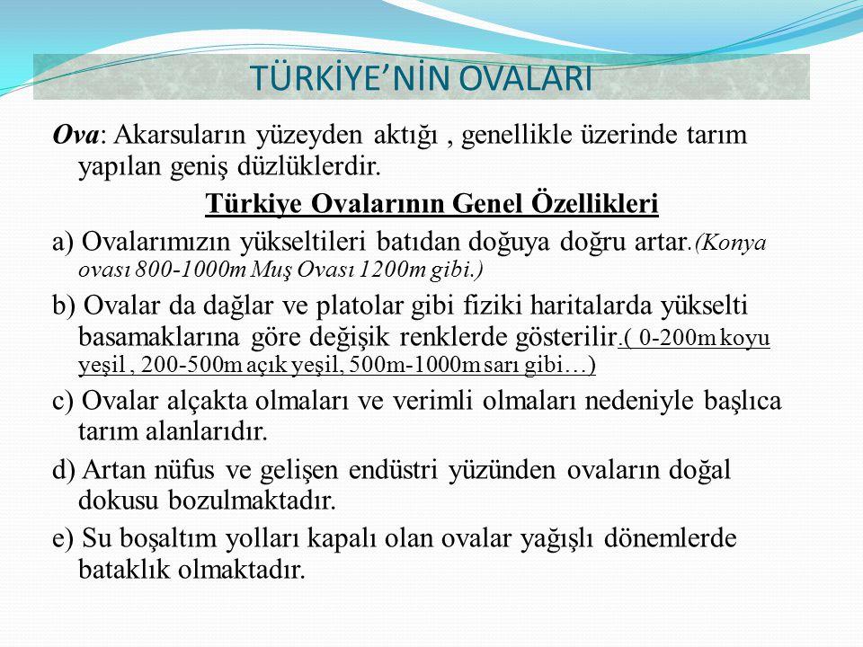 Türkiye Ovalarının Genel Özellikleri