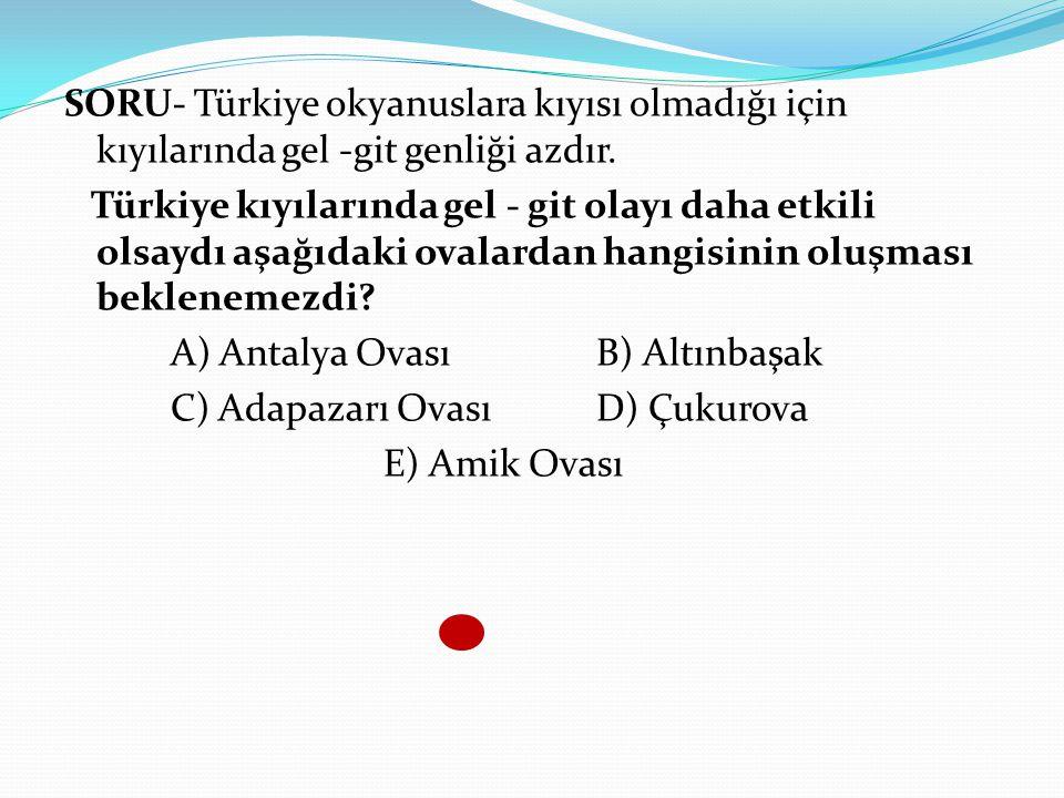 SORU- Türkiye okyanuslara kıyısı olmadığı için kıyılarında gel -git genliği azdır.