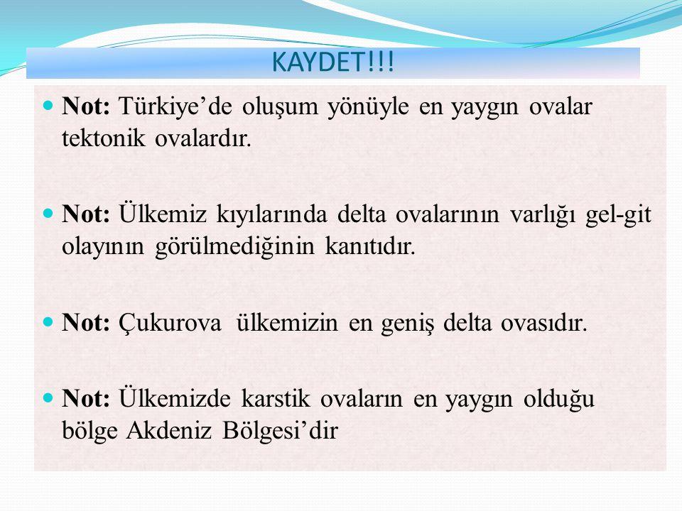 KAYDET!!! Not: Türkiye'de oluşum yönüyle en yaygın ovalar tektonik ovalardır.