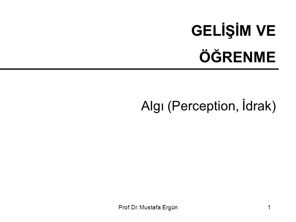 GELİŞİM VE ÖĞRENME Algı (Perception, İdrak) Prof.Dr. Mustafa Ergün