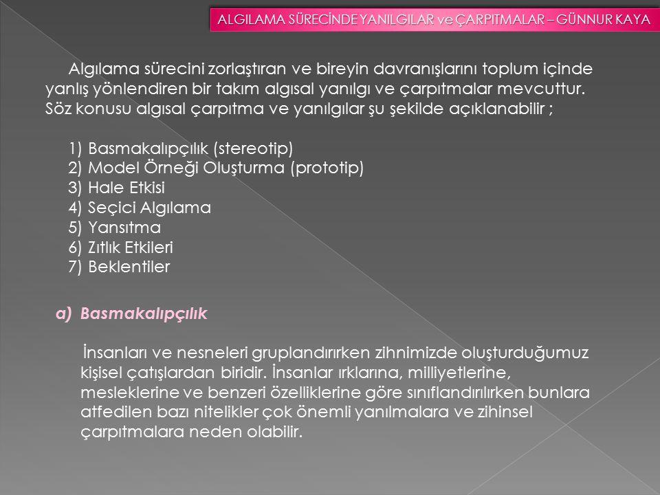 2) Model Örneği Oluşturma (prototip) 3) Hale Etkisi 4) Seçici Algılama