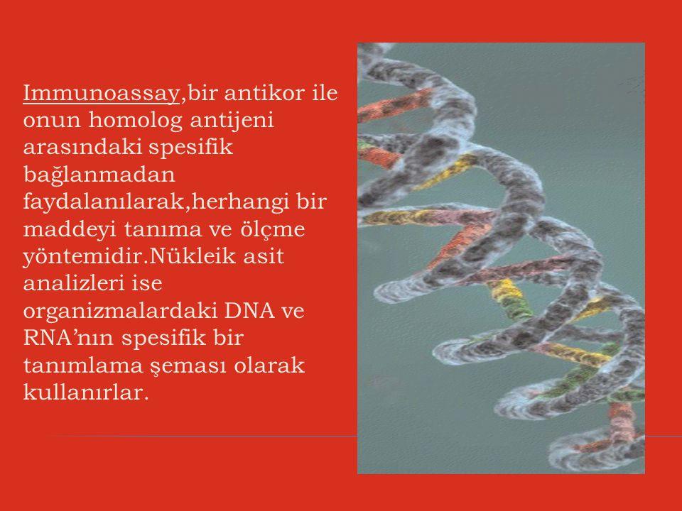 Immunoassay,bir antikor ile onun homolog antijeni arasındaki spesifik bağlanmadan faydalanılarak,herhangi bir maddeyi tanıma ve ölçme yöntemidir.Nükleik asit analizleri ise organizmalardaki DNA ve RNA'nın spesifik bir tanımlama şeması olarak kullanırlar.