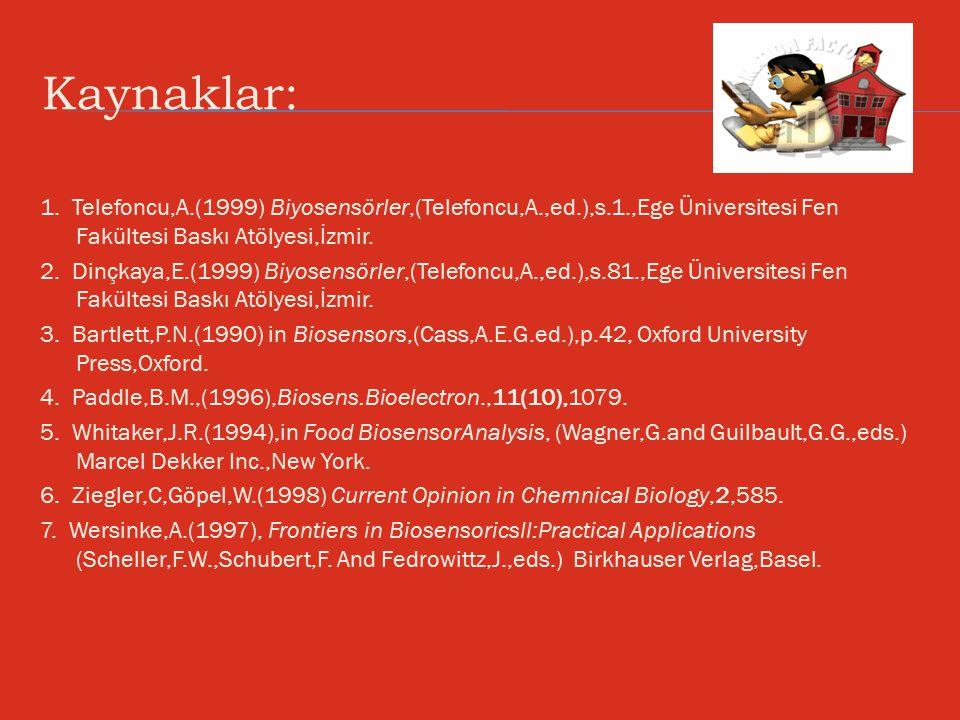 Kaynaklar: 1. Telefoncu,A.(1999) Biyosensörler,(Telefoncu,A.,ed.),s.1.,Ege Üniversitesi Fen Fakültesi Baskı Atölyesi,İzmir.
