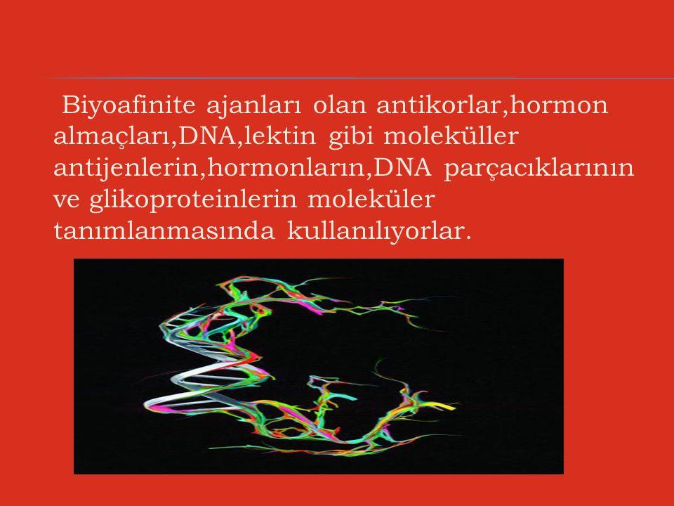 Biyoafinite ajanları olan antikorlar,hormon almaçları,DNA,lektin gibi moleküller antijenlerin,hormonların,DNA parçacıklarının ve glikoproteinlerin moleküler tanımlanmasında kullanılıyorlar.