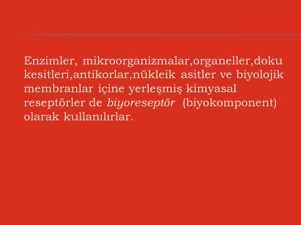 Enzimler, mikroorganizmalar,organeller,doku kesitleri,antikorlar,nükleik asitler ve biyolojik membranlar içine yerleşmiş kimyasal reseptörler de biyoreseptör (biyokomponent) olarak kullanılırlar.