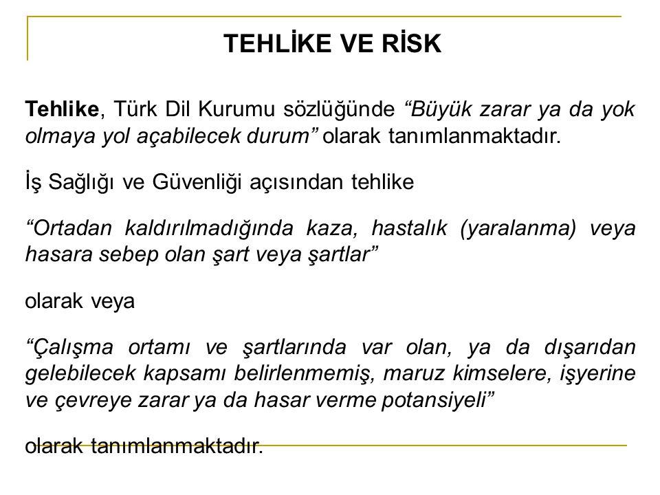 TEHLİKE VE RİSK Tehlike, Türk Dil Kurumu sözlüğünde Büyük zarar ya da yok olmaya yol açabilecek durum olarak tanımlanmaktadır.