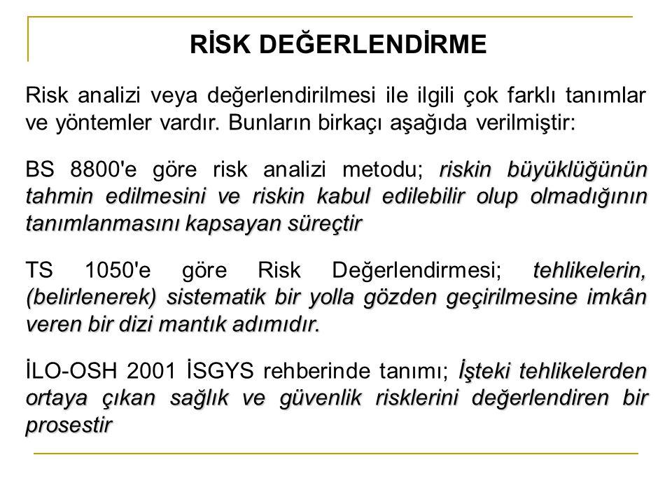 RİSK DEĞERLENDİRME Risk analizi veya değerlendirilmesi ile ilgili çok farklı tanımlar ve yöntemler vardır. Bunların birkaçı aşağıda verilmiştir: