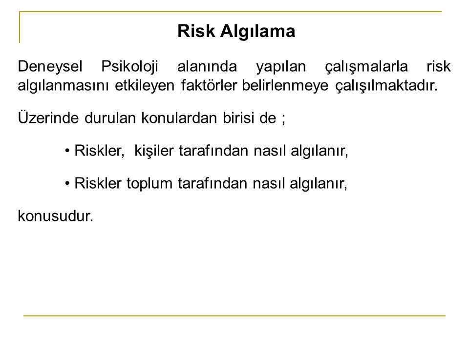 Risk Algılama Deneysel Psikoloji alanında yapılan çalışmalarla risk algılanmasını etkileyen faktörler belirlenmeye çalışılmaktadır.