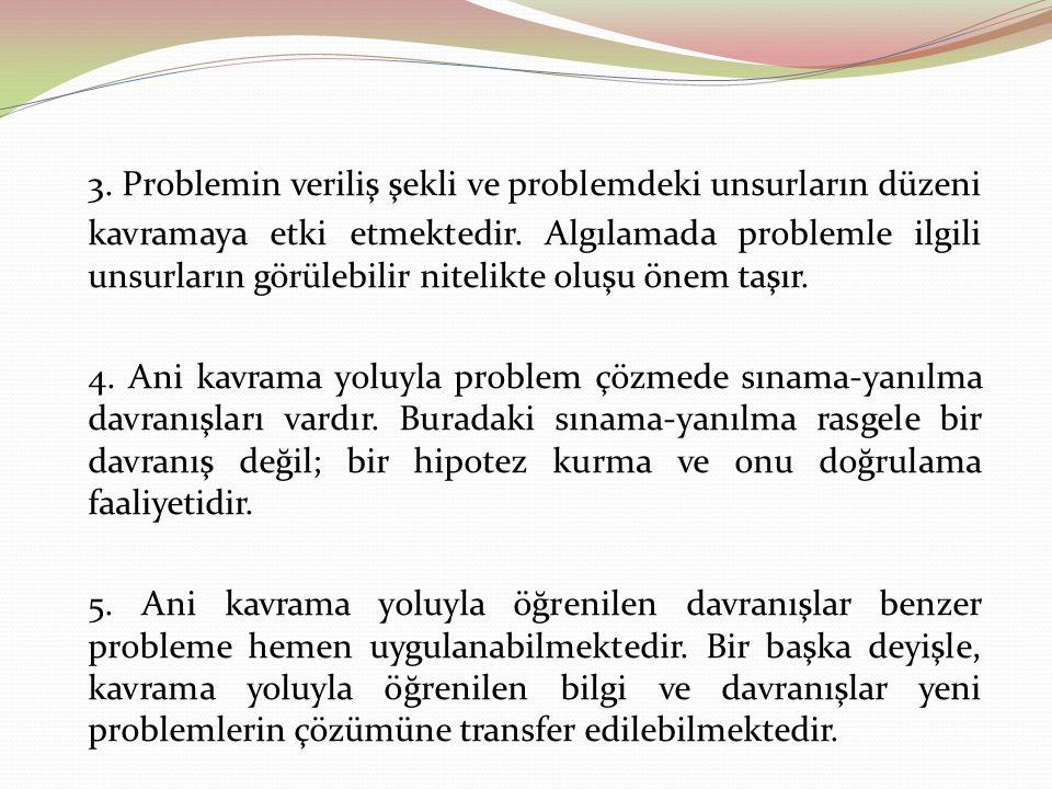 3. Problemin veriliş şekli ve problemdeki unsurların düzeni kavramaya etki etmektedir. Algılamada problemle ilgili unsurların görülebilir nitelikte oluşu önem taşır.